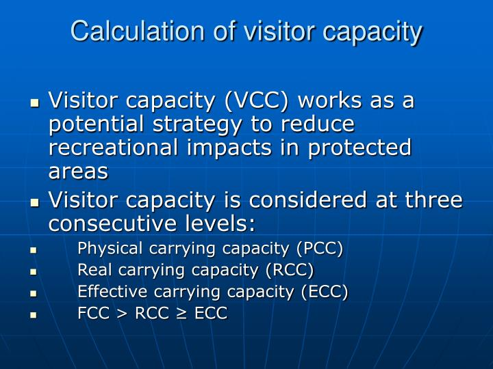 Calculation of visitor capacity