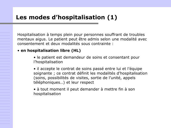 Les modes d'hospitalisation (1)