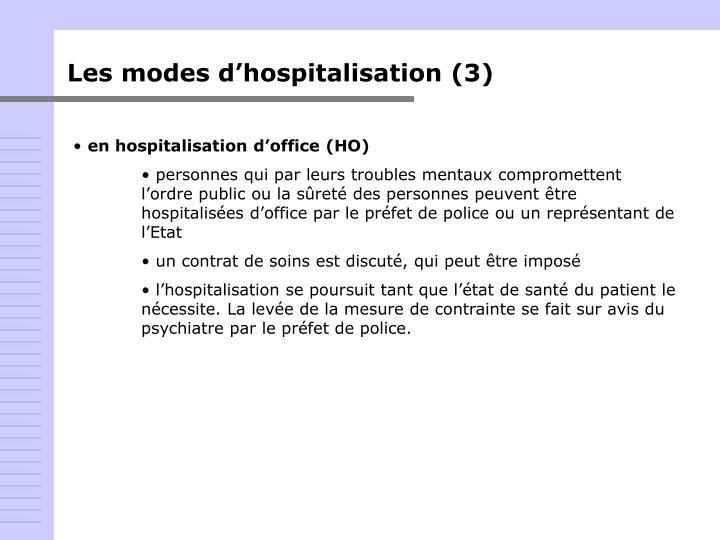 Les modes d'hospitalisation (3)