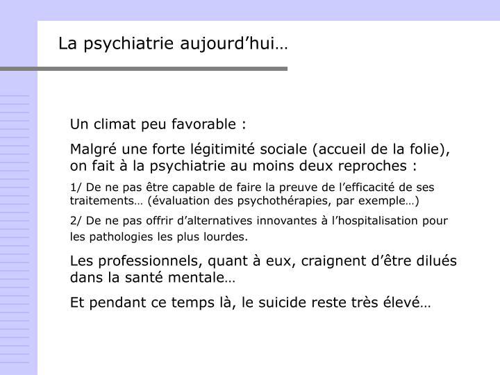 La psychiatrie aujourd'hui…