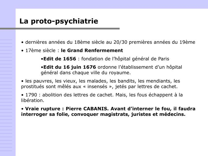 La proto-psychiatrie