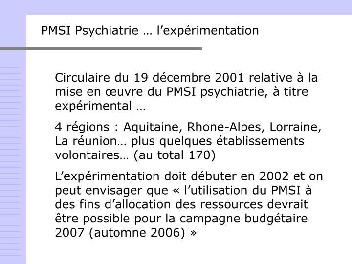 PMSI Psychiatrie … l'expérimentation