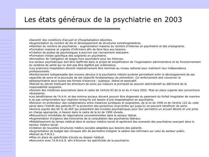Les états généraux de la psychiatrie en 2003
