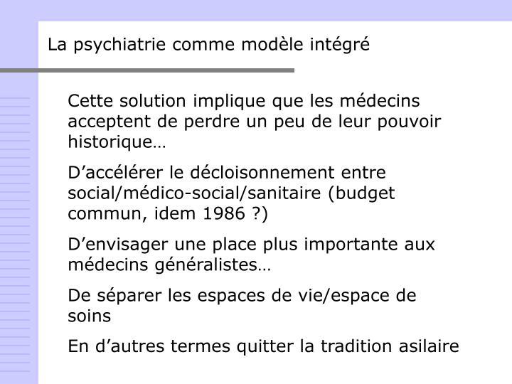 La psychiatrie comme modèle intégré