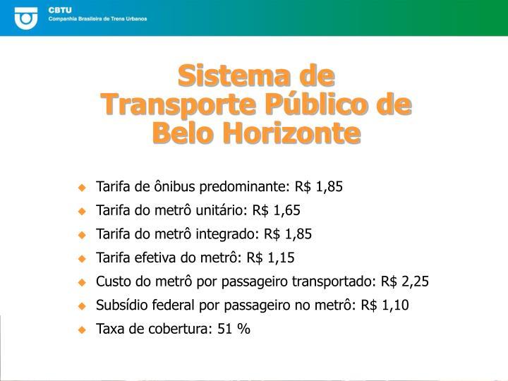 Tarifa de ônibus predominante: R$ 1,85