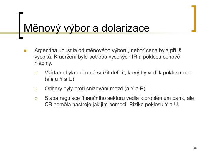 Měnový výbor a dolarizace