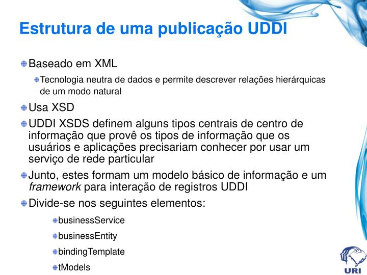 Estrutura de uma publicação UDDI