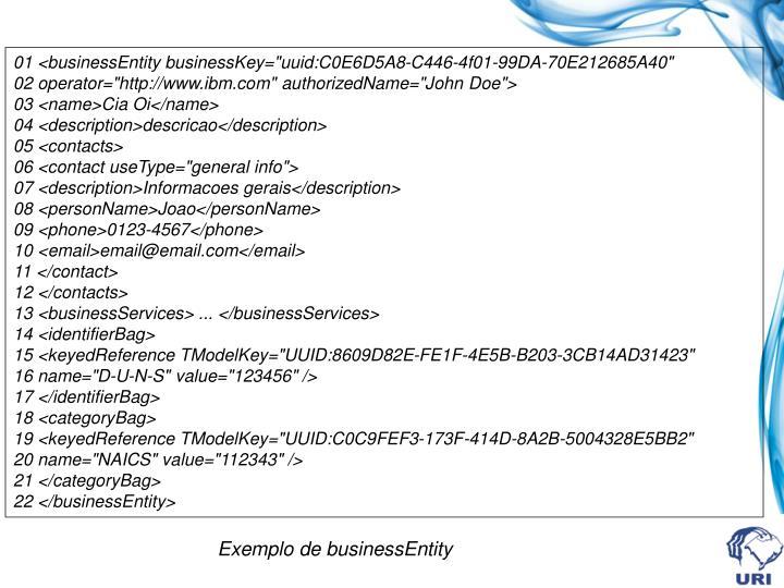 """01 <businessEntity businessKey=""""uuid:C0E6D5A8-C446-4f01-99DA-70E212685A40"""""""