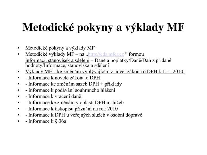 Metodické pokyny a výklady MF