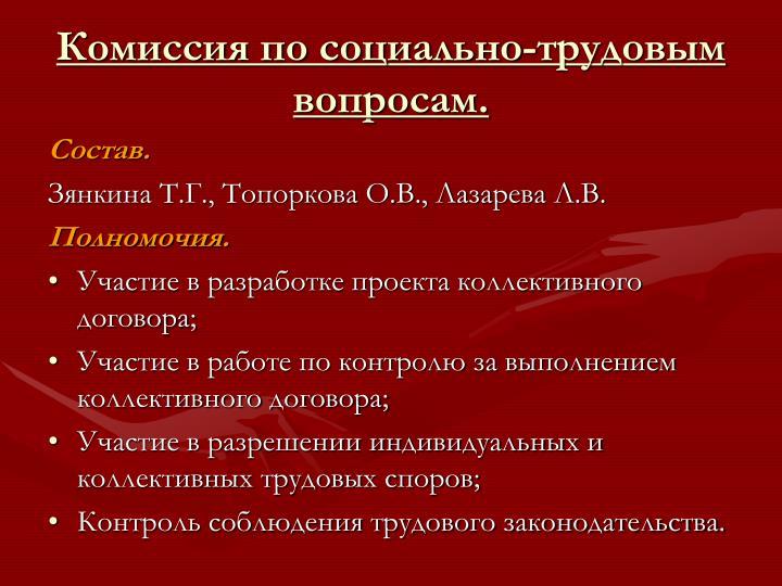 Комиссия по социально-трудовым вопросам.