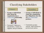 classifying stakeholders