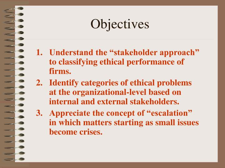 "Understand the ""stakeholder approach""  to classifying ethical performance of firms."