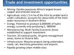 trade and investment opportunities