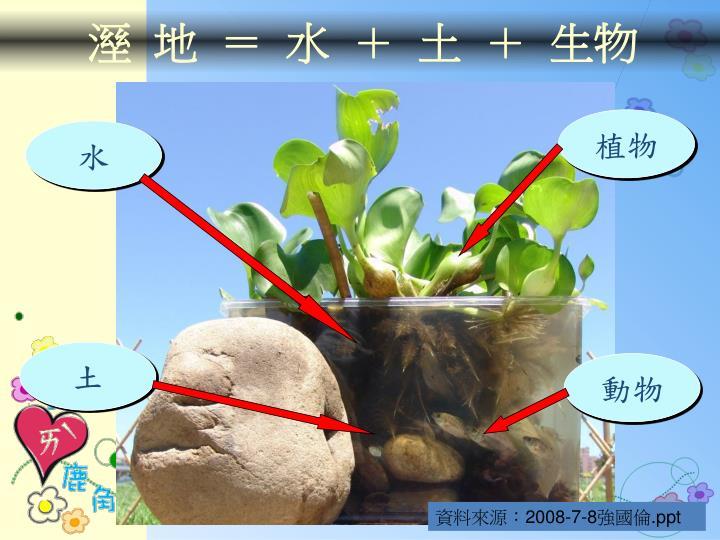 溼 地 = 水 + 土 + 生物