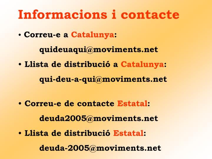 Informacions i contacte