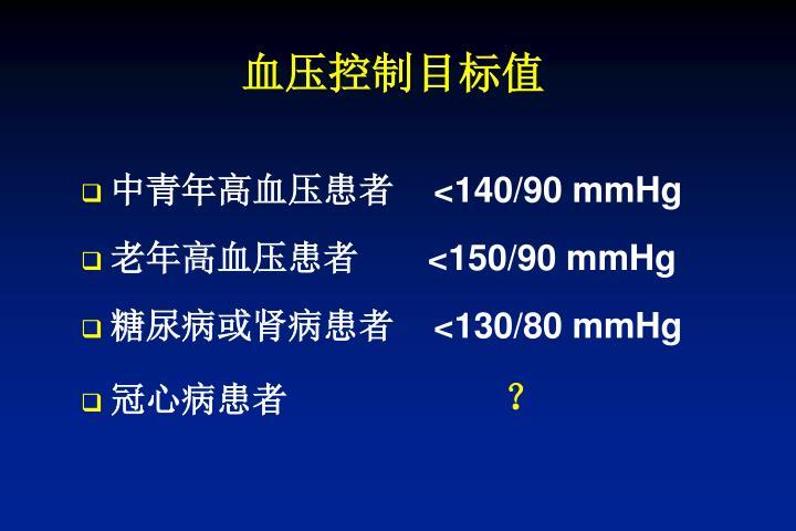 血压控制目标值
