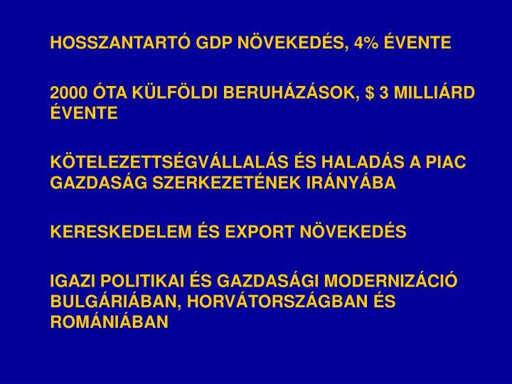HOSSZANTARTÓ GDP NÖVEKEDÉS, 4% ÉVENTE