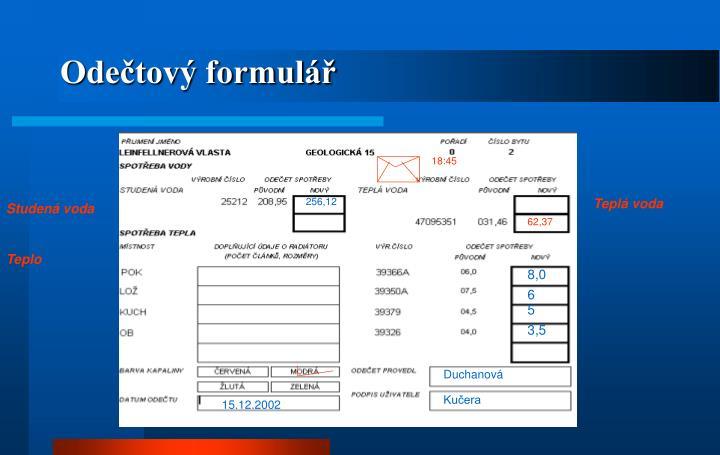 Odečtový formulář