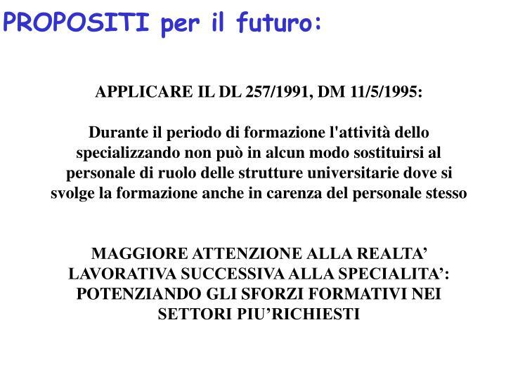 PROPOSITI per il futuro: