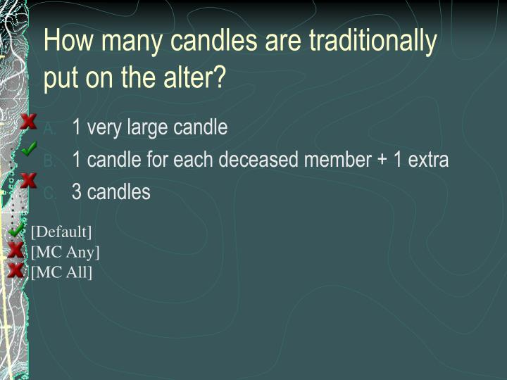 How many candles are traditionally put on the alter?