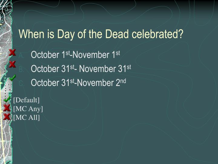 When is Day of the Dead celebrated?