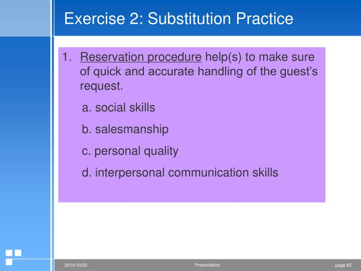 Exercise 2: Substitution Practice