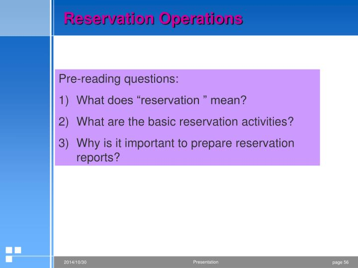Reservation Operations