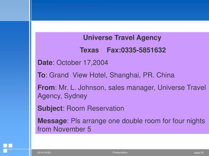 Universe Travel Agency