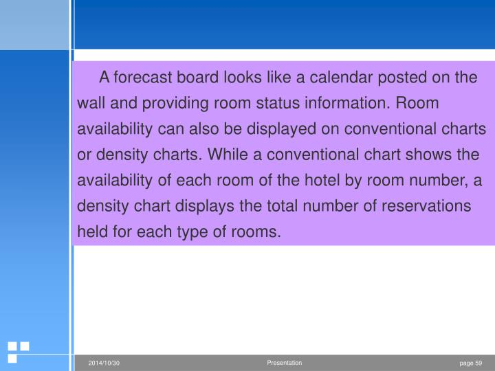 A forecast board looks like a calendar posted on the wall and providing room status information. Room availability can also be displayed on conventional charts or density charts. While a conventional chart shows the availability of each room of the hotel by room number, a density chart displays the total number of reservations held for each type of rooms.