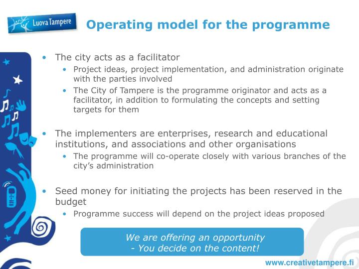 Operating model for the programme