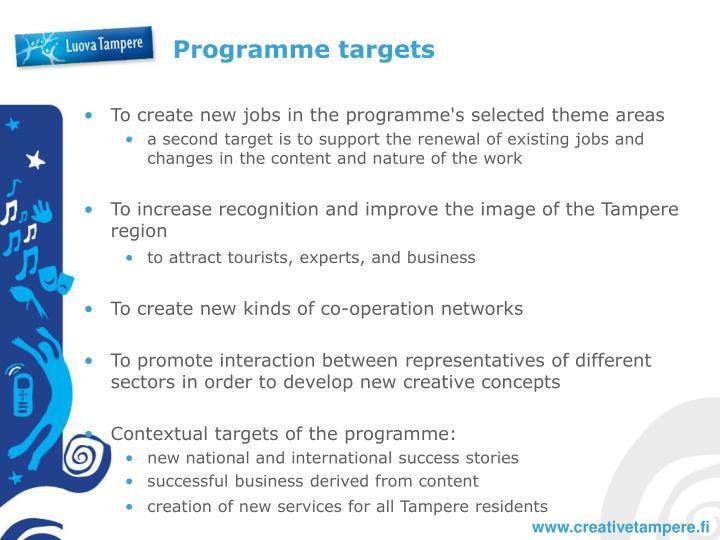Programme targets