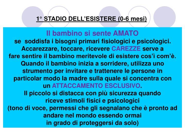 1° STADIO DELL'ESISTERE (0-6 mesi)