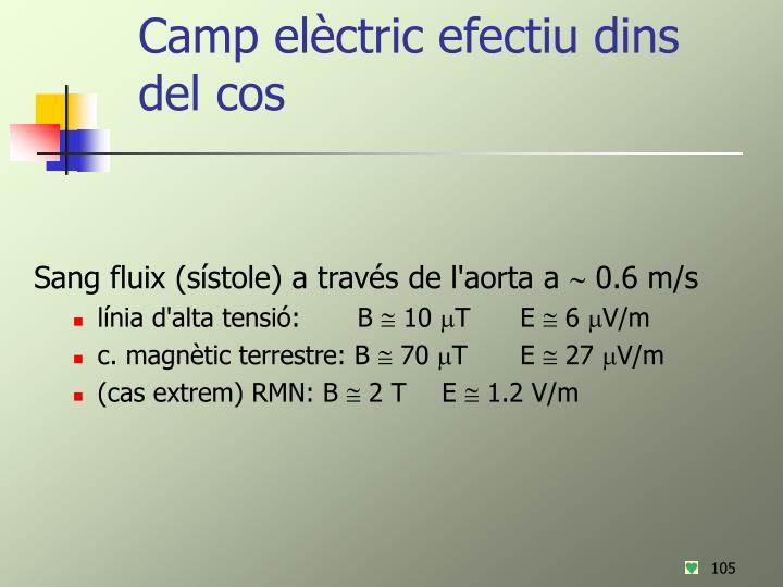 Camp elèctric efectiu dins del cos