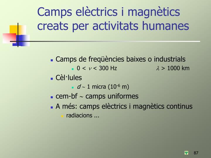 Camps elèctrics i magnètics creats per activitats humanes