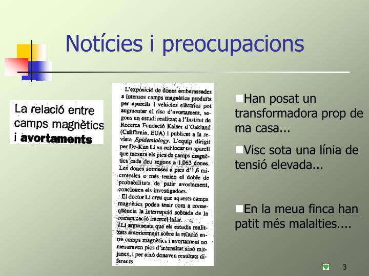 Not cies i preocupacions