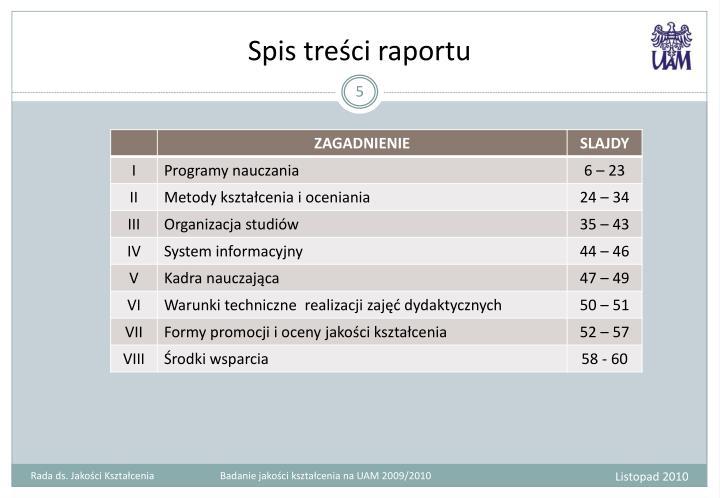 Spis treści raportu