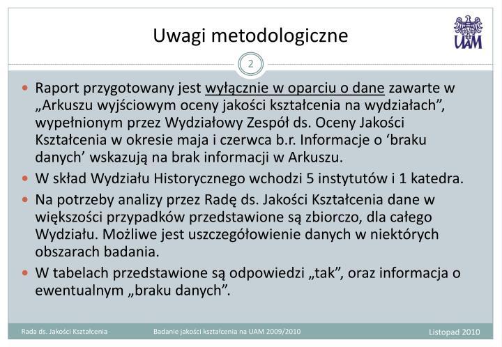 Uwagi metodologiczne