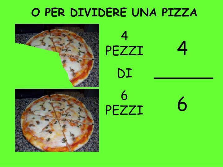 O PER DIVIDERE UNA PIZZA