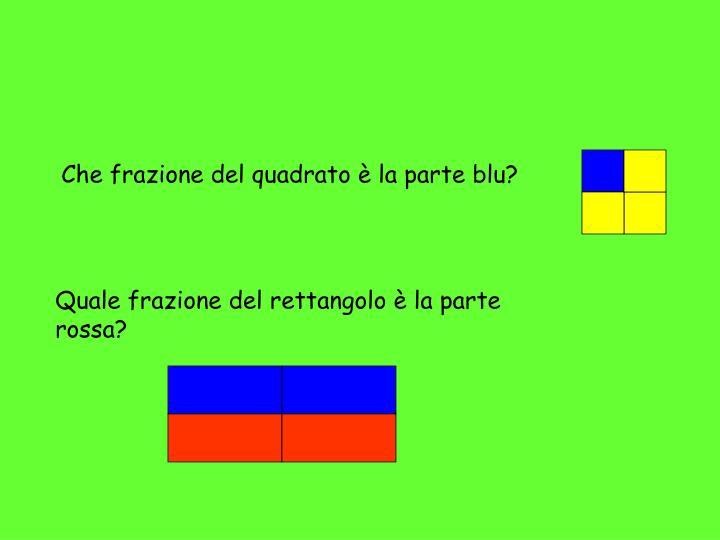 Che frazione del quadrato è la parte blu?