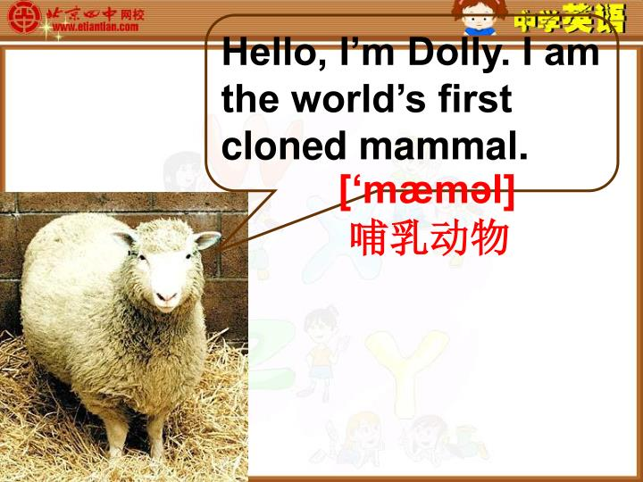 Hello, I'm Dolly. I am the world's first cloned mammal.