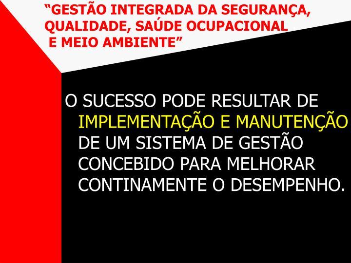 """""""GESTÃO INTEGRADA DA SEGURANÇA, QUALIDADE, SAÚDE OCUPACIONAL"""