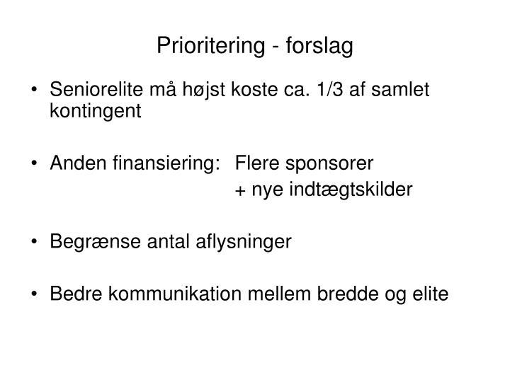 Prioritering - forslag