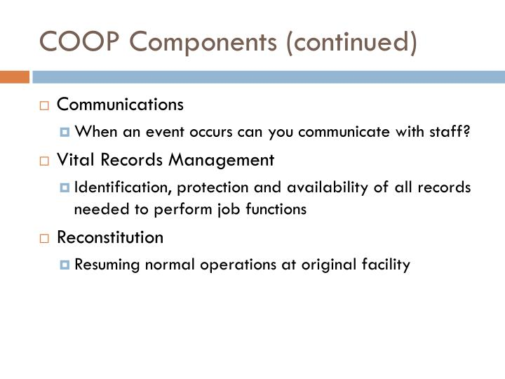 COOP Components (continued)