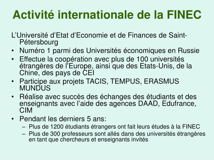 Activit internationale de la finec