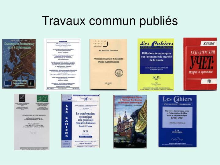 Travaux commun publiés