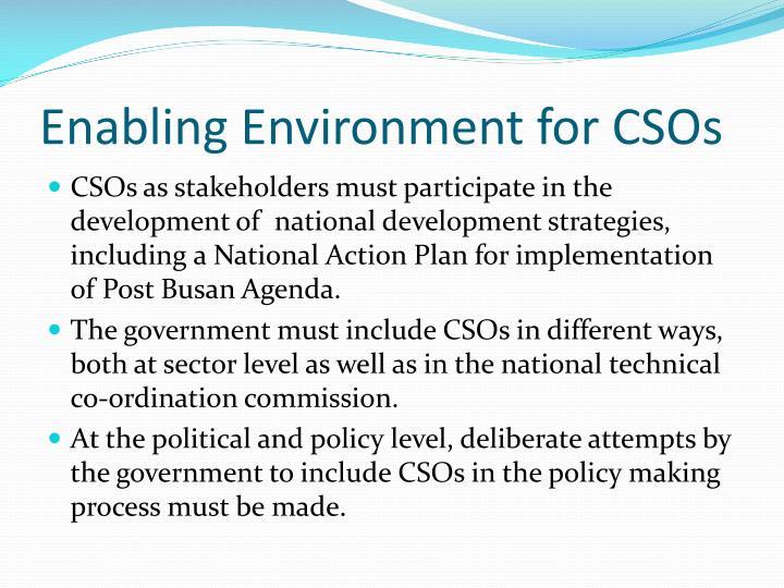 Enabling Environment for CSOs