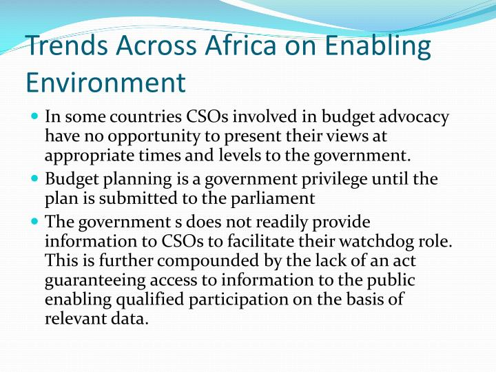 Trends Across Africa on Enabling Environment