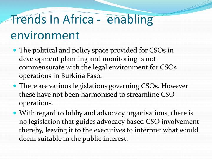Trends In Africa -  enabling environment