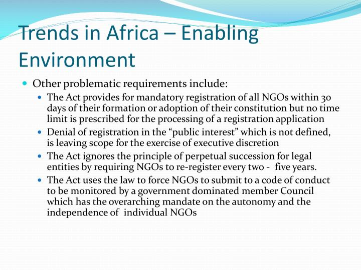 Trends in Africa – Enabling Environment