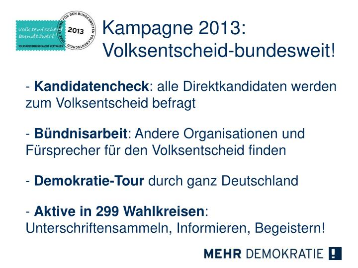 Kampagne 2013:
